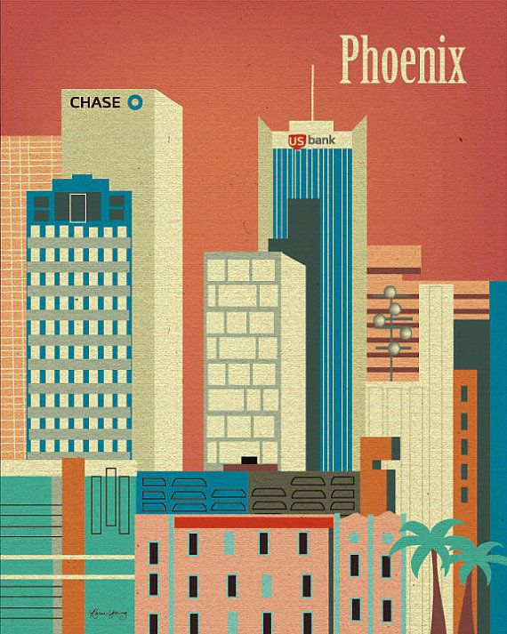Phoenix, Arizona Downtown Skyline Retro Art Poster Print for Home, Nursery Rooms, or  Office - E8-O-PHE via Etsy