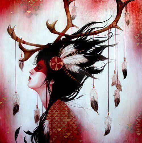 """Red Caribou"" Art Print by Sylvia Ji"
