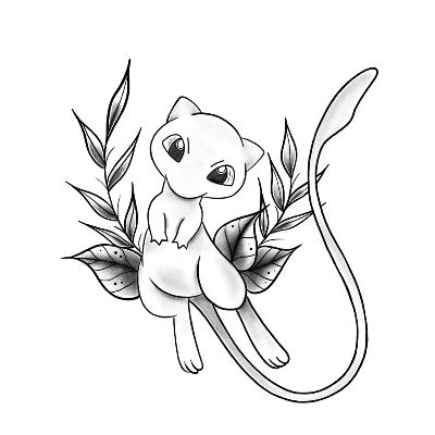 - Anime and Manga World 2020 Pokemon Mew, Mew Y Mewtwo, Ink Tattoo, Tattoo Drawings, Body Art Tattoos, Cartoon Tattoos, Anime Tattoos, Pokemon Tattoo, Pokemon Coloring Pages