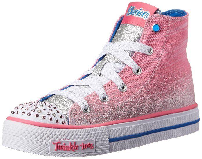 Skechers Kids Twinkle Toes Shuffles Splendorific Light Up Sneaker,Pink/Blue,13.5 M US Little Kid