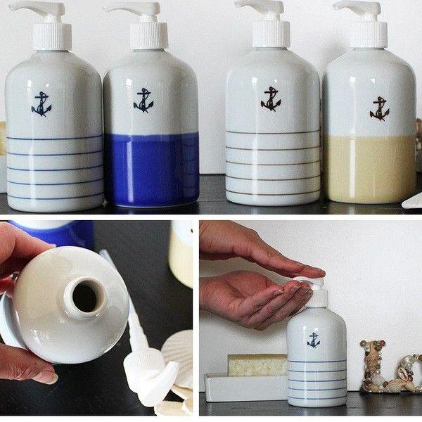 ソープボトル 詰め替えボトル おしゃれ 陶器 マリン雑貨 イカリ 北欧 マリン アンカー ディスペンサー ボーダー シャンプー 北欧雑貨 磁器 波佐見焼 ベージュ系