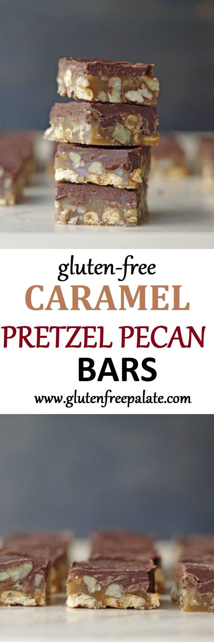These Gluten-Free Caramel Pretzel Pecan Bars are insanely delicious and are a new fun spin off of traditional turtle clusters.
