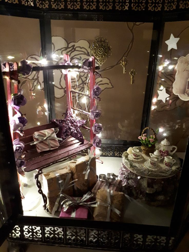 Diy christmas garden in to the lantern for fairies. Only flowers and china is bought from the store.