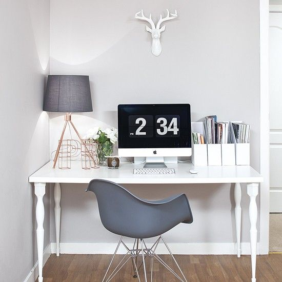This little home office has been given bags of character thanks to the choice of muted Scandi accessories
