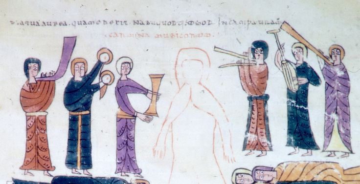 Ca. 975, Beatus of Urgell. Musicians playing, cythara or plucked fiddle far right.  http://arachne.uni-koeln.de/item/buchseite/902718