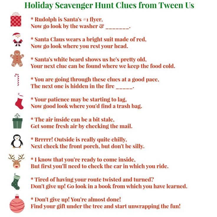 christmas scavenger hunt ideas | Scavenger Hunt Clues from Tween Us