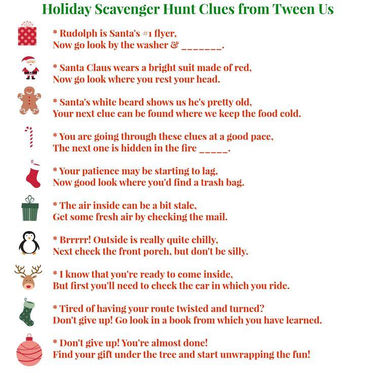 christmas scavenger hunt ideas | Scavenger Hunt Clues from Tween Us