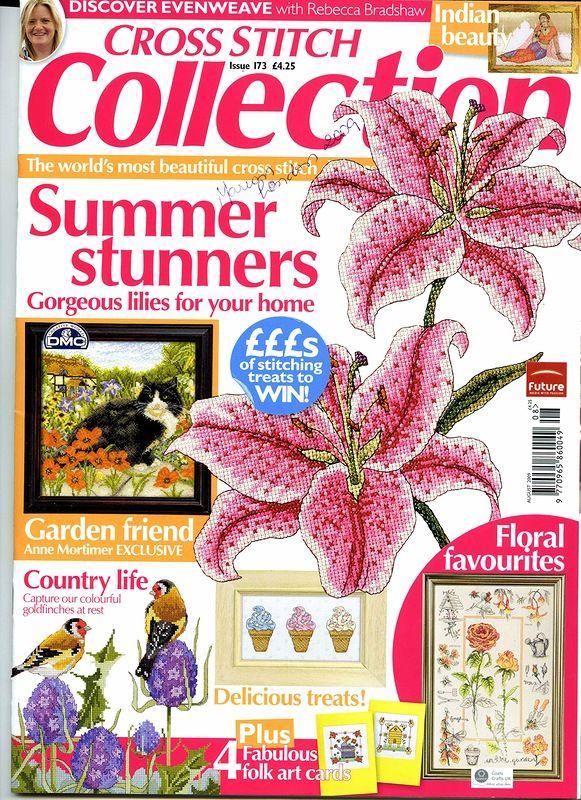 Cross Stitch Collection 173 2009. Summer Stunners; lilies, finches, garden scene cards, garden samplier (nice) cat