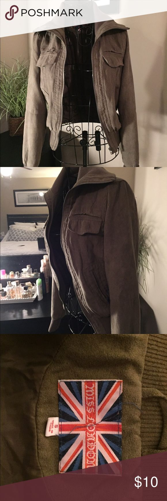 Army green bomber jacket Cute for spring or fall. Army green bomber jacket. Size small. Jackets & Coats Utility Jackets