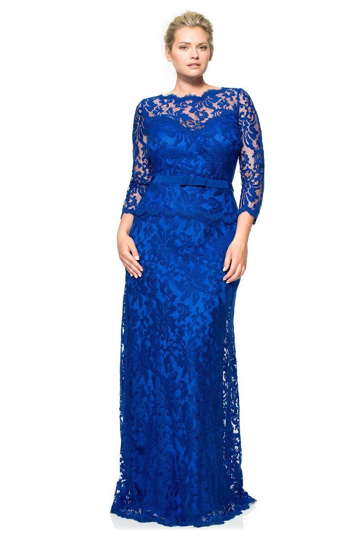 Tadashi Shoji Plus Size - Illusion Lace 3/4 Sleeve Gown