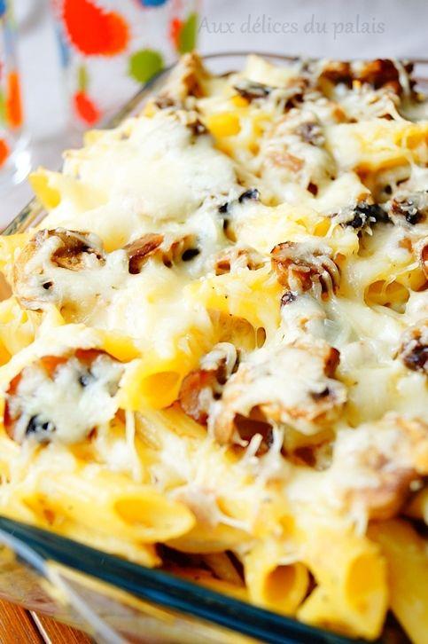 Recette gratin de pâtes aux champignons & fromage sans béchamel