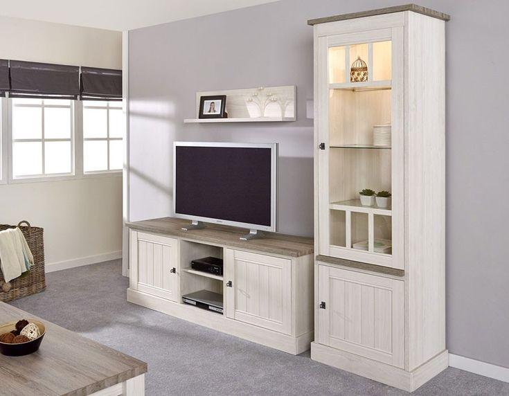 Ensemble meuble TV contemporain couleur chêne JEANNE 2