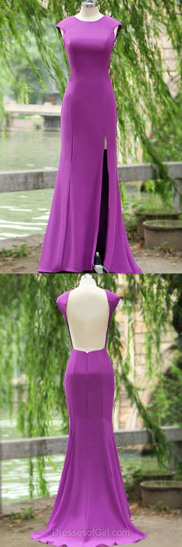 Sexy Prom Dresses, Satin Prom Dress, Backless Evening Dresses, Satin Party Dresses, Purple Formal Dresses