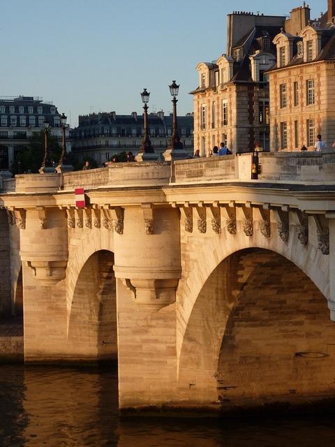Pont Neuf (New Bridge), Paris    From pointy end of Ile de la Cite (west end) to 4e.  Metro: Pont Neuf, Line 7.