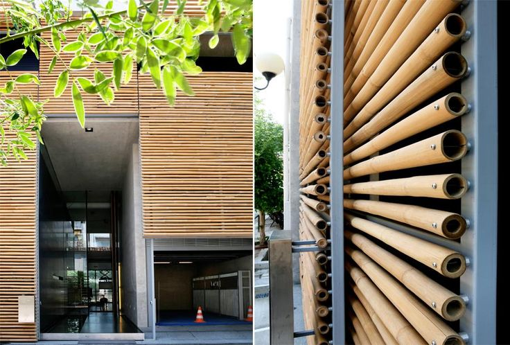 Designed by Tasos Sotiropoulos of ISV architects, this 4 storey town-house in the once industrial area of Kerameikos features bamboo cladding over the facade of the building which faces the road. This offers both privacy to the occupants of the home as well as protection from the sun.  Everything has been designed with simplicity and functionality but above all with warmth and comfort as a family home. In other words, a Greek home.