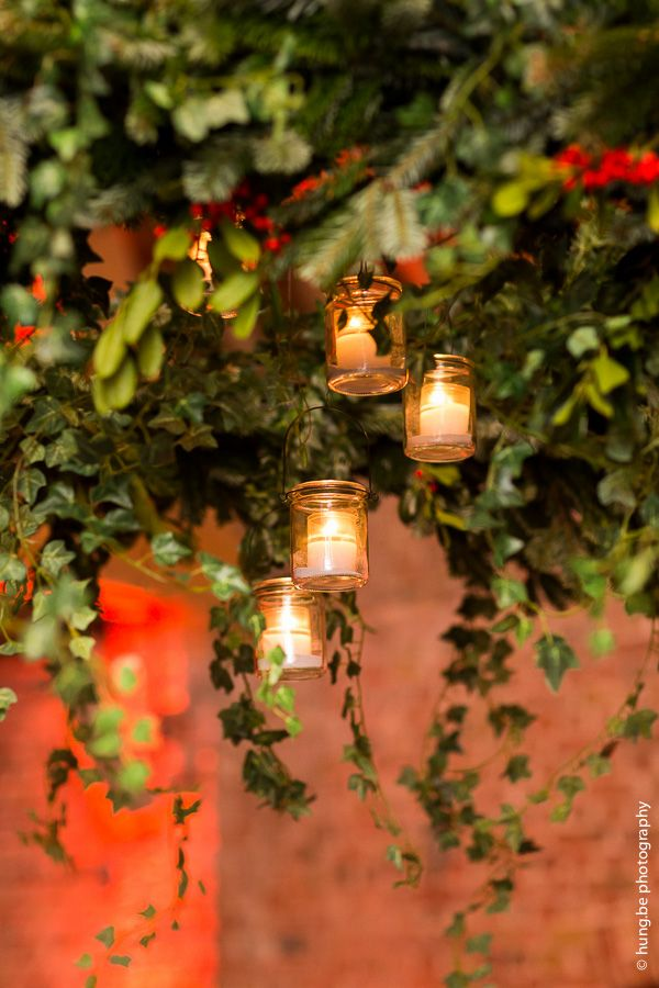 Decoration Detail   Ceiling Wreaths With Pine Branches, Ivy And Hanging  Candles, Romantic Winter