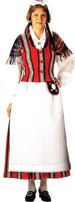 Traditional Finnish folk costume, a woman´s dress representing the region of Nastola and Asikkala
