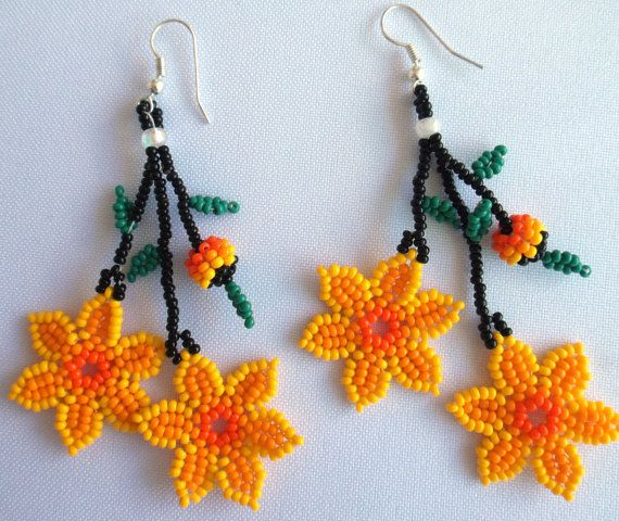Huichol Beaded Flower earrings