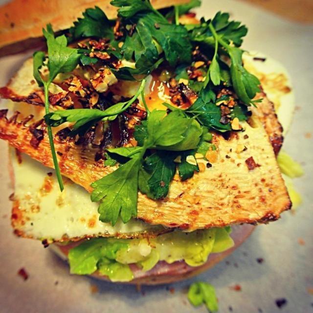 Bamboo shoot, Egg, Spring Cabbage, Melted Cheese and Ham with Parmwsan Basilic mustard - 132件のもぐもぐ - 筍、半熟卵、春キャベツとチーズメルト、ハム、パルメザン バルサミコ マスタード  ベーグルサンド by tayukoO