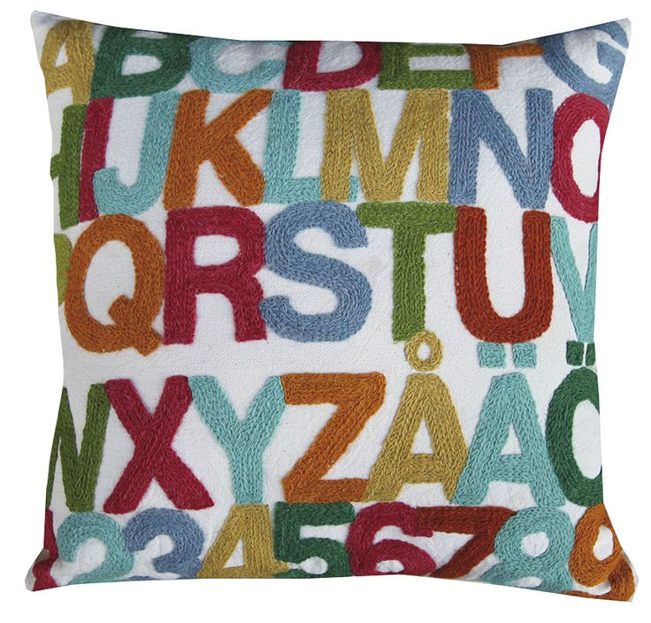 Tikau - ABC cushion cover. Handmade in India.