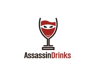 Assassin Drinks Logo design - Logo design of a wine glass shaped like a masked man.  Price $250.00