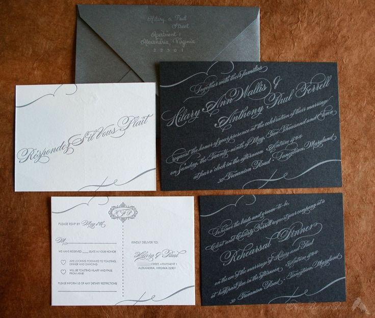 Wedding Invite: Letterpresses Prints, Twin Ravens, Ravens Press, Slanted Scripts, Gorgeous Scripts, Invitations Awesome, Thanksw Invitations, Gray Invitations, Invitations Inspiration