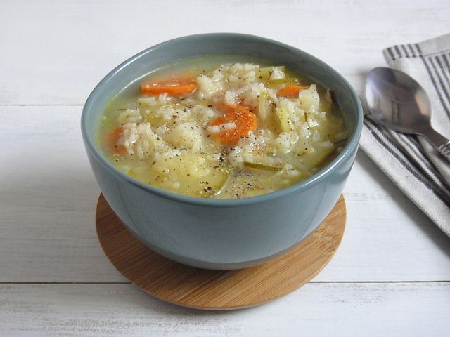Rice and vegetable #soup - #vegan #recipe