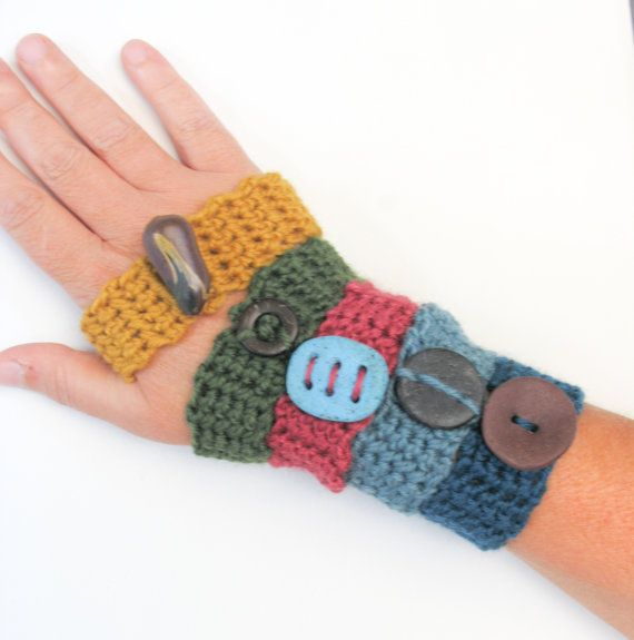 On Sale Colorful Bracelet Pure Wool Cuff by totalhandmadeD on Etsy