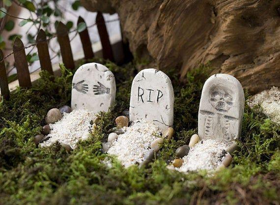 Miniature Halloween tombstones Set of 2 Fairy garden accessories.