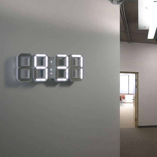 Digital LED Clock White by KIBARDINDESIGN