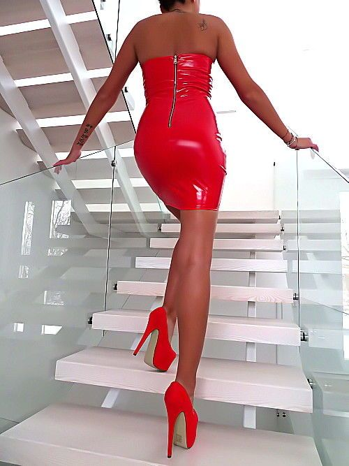 KLEID ROT LEDER OPTIK LACK GLANZ MADE ITALY DAMEN T47 LEATHER LOOK TOP DRESS S/M