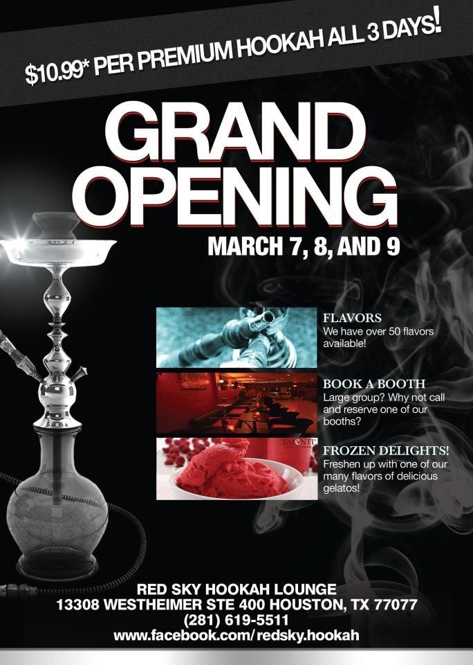 Grand Opening Of Red Sky Hookah Lounge! | My Flyers | Pinterest