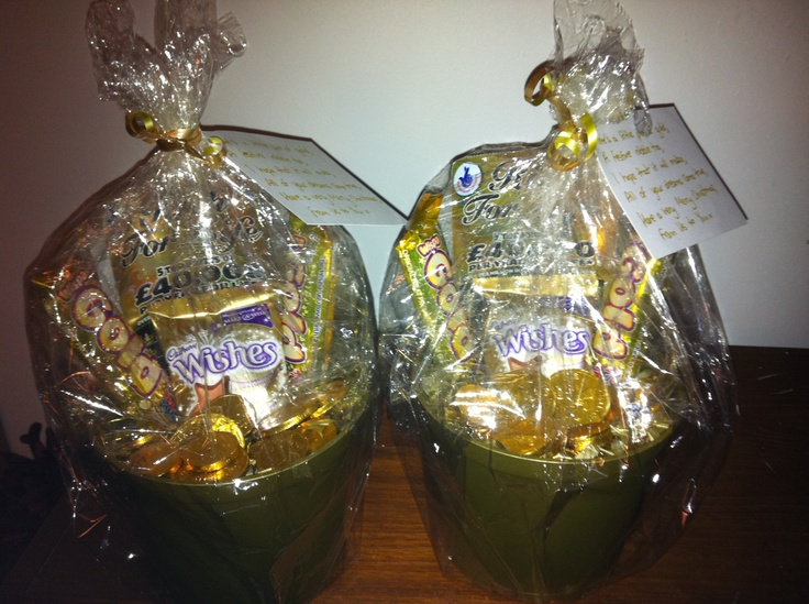 Pots of Gold. Presents for my niece and nephew for Christmas. Filled with various gold sweets and a 'gold' scratchcard!
