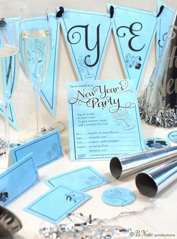 2014 New Year Party Invitation, Blue new year celebration for new year party invites