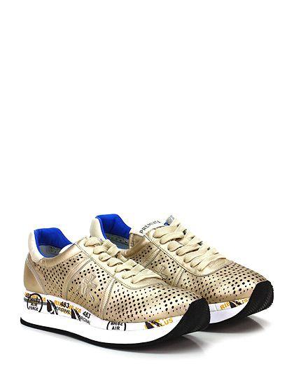 PREMIATA - Sneakers - Donna - Sneaker in pelle con suola in gomma. Tacco 40, platform 30 con battuta 10, interno sfoderato. - 1406 OTTONE - € 207.00