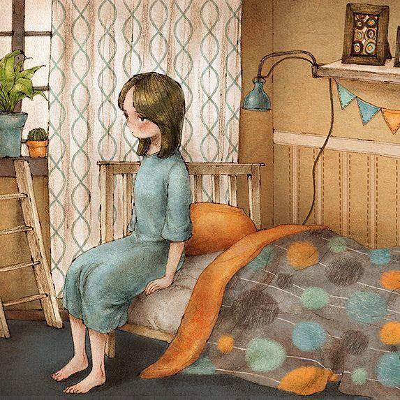 밝은 햇살에 문득 잠에서 깨어나다. Sometimes, I suddenly woke up in the morning with the bright sunshine.  #illust #illustration #wakeup #morning #notgoodmorning #tired #sketch #drawing #interior #bedroom #bedroominterior #daily #dailylife #aeppol #일상 #아침 #일러스트 #일러스트레이션 #애뽈
