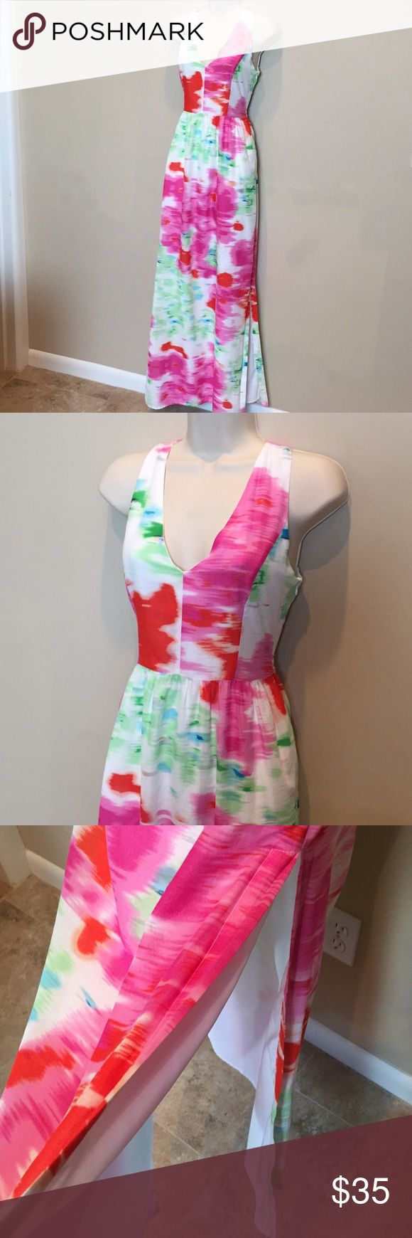 "MM Couture Maxi Dress Watercolor Keyhole Back XS MM Couture by Miss Me beautiful maxi dress, halter style neckline, keyhole back, hidden side zipper. Watercolor pastel colors. Cool 100% cotton, fully lined. Size XS, 16"" across chest, 58"" total length. Slits on both sides. MM Couture Dresses Maxi"