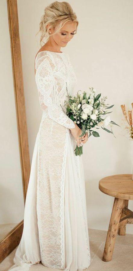 54b906a7d04 Long Sleeve Ivory Lace Wedding Dresses See Through Backless Boho ...