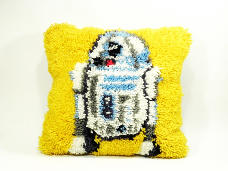 vintage sci-fi Star Wars pillow . amazing R2D2 folk latch hook rug . perfection in geekery. $55.00, via Etsy.