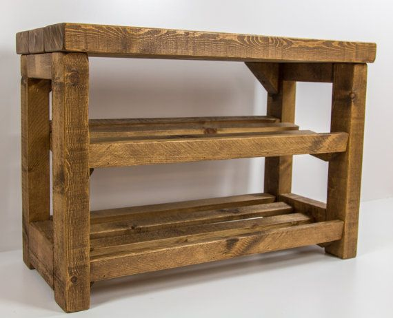 rustic shoe rack with seat wooden shoe by