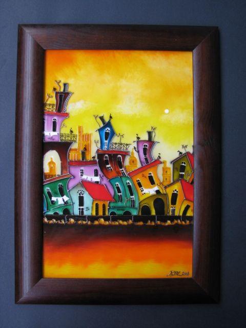 Cubana  - festett üvegkép, üvegfestmény www.asterglass.hu Burján Eszter 'Aster' üvegfestő művész