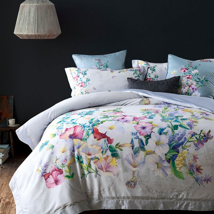 ==> [Free Shipping] Buy Best 60S 100% cotton flowers bedding sets luxury bed sheet set gift adult bedding set queen/king size blue white grey bedding Online with LOWEST Price | 32805244940