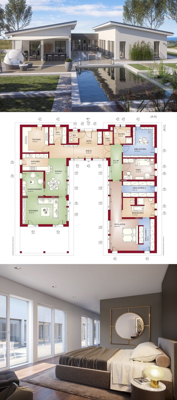 Bungalow Haus mit Pultdach & Innenhof, 6 Zimmer Grundriss ebenerdig mit Pool Terrasse, innen modern, offen – Einfamilienhaus eingeschossig bauen Ideen Fertighaus Winkelbungalow AMBIENCE 209 PD von Bien Zenker – HausbauDirekt.de