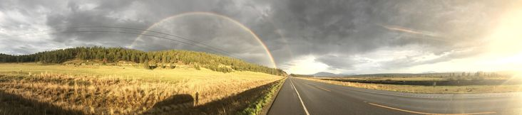 Double rainbow en route to Banff! 16382 x 3628