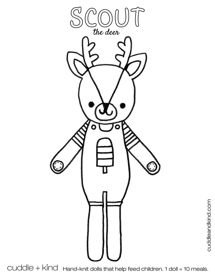 cuddle+kind scout the deer colouring sheet. www