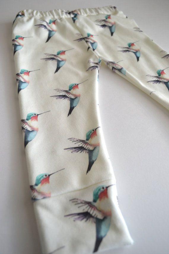 organic cotton leggings in hummingbird print, organic baby leggings, modern baby clothing on Etsy, $34.00