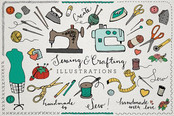 This is a set of 60 vector format sewing and crafting clipart. Perfect for making your own etsy shop logos and banners, products, craft room