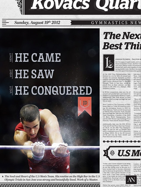 He Came, He Saw, He Conquered :: The headline of Kovacs Quarterly that features Jake Dalton.