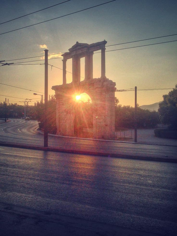 Sunrise. Adrian's Gate, Athens, Greece.