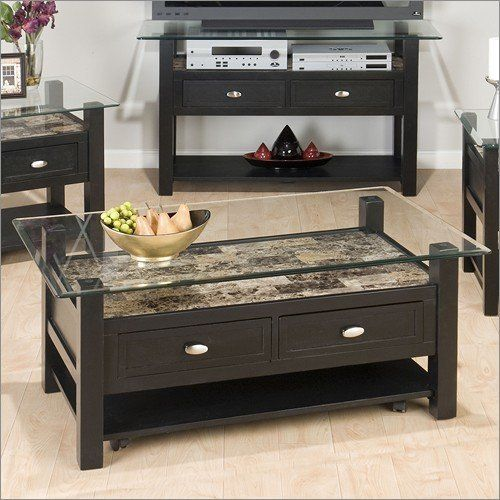 Tempered Glass Coffee Table With Drawers: Glass Cocktail Table Jofran Basic Black Glass Top Cocktail